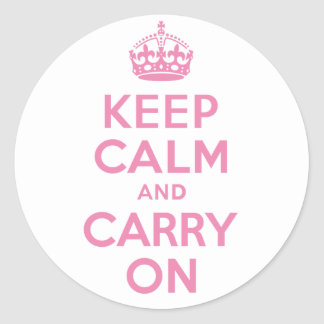 Pink Keep Calm And Carry On Classic Round Sticker