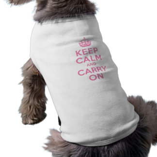 Pink Keep Calm And Carry On Doggie Tee Shirt