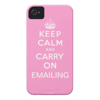 Pink Keep Calm and Carry On Emailing iPhone 4 iPhone 4 Case-Mate Case