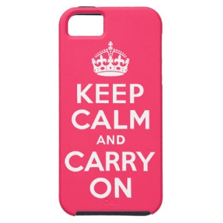 Pink Keep Calm and Carry On iPhone SE/5/5s Case