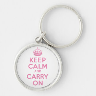 Pink Keep Calm And Carry On Keychain