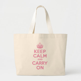 Pink Keep Calm And Carry On Large Tote Bag