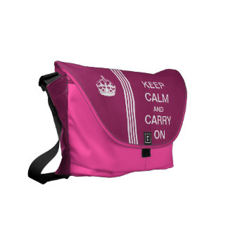 Pink KEEP CALM AND CARRY ON Monogram Racing Stripe Courier Bag