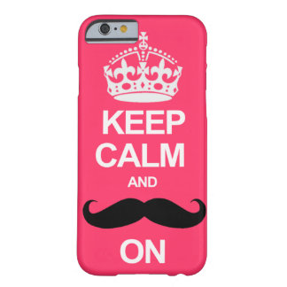 Pink Keep Calm and Carry On Mustache iPhone 6 case