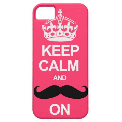 Pink Keep Calm and Carry On Mustache iPhone Case iPhone 5 Covers