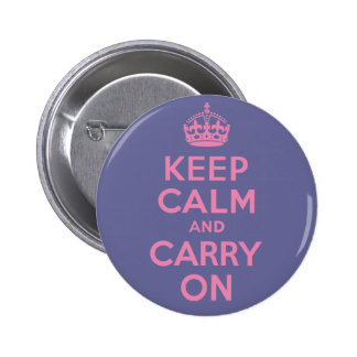 Pink Keep Calm And Carry On Pinback Button