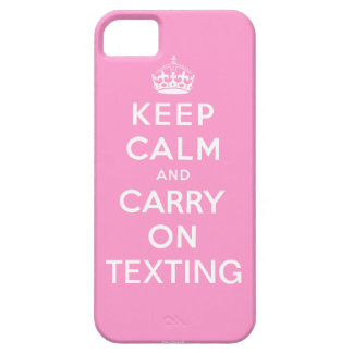 Pink Keep Calm and Carry On Texting iPhone 5 Case
