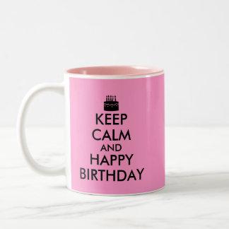Pink Keep Calm and Happy Birthday Mug Custom