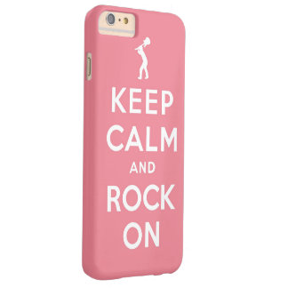 Pink Keep calm and rock on Barely There iPhone 6 Plus Case