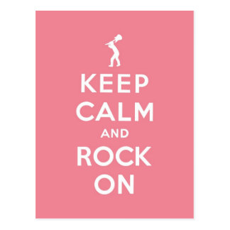 Pink Keep calm and rock on Postcard