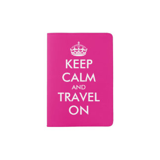 Pink keep calm and travel on passport holder