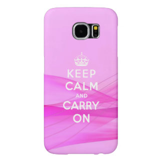 Pink Keep Calm Carry On Samsung Galaxy S6 Cases