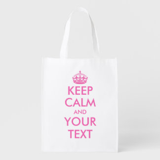 Pink Keep Calm reusable shopping bags Reusable Grocery Bags