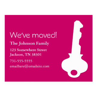 Pink Key Design Moving Post Cards