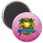 Pink Key West Sunset 2 Inch Round Magnet
