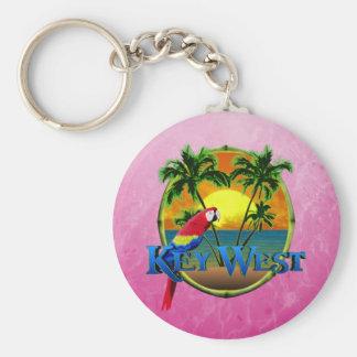 Pink Key West Sunset Basic Round Button Keychain