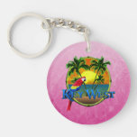 Pink Key West Sunset Keychain