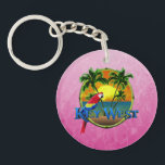 "Pink Key West Sunset Keychain<br><div class=""desc"">Key West Florida,  the southernmost point in the United States. Beach sunset painting with palm trees,  round bamboo frame,  and a colorful parrot.</div>"
