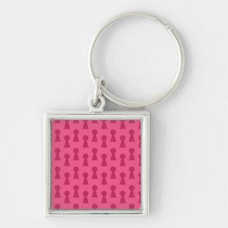 Pink keyhole pattern keychain