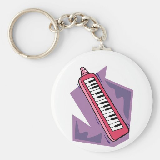 Pink Keytar portable 80s keyboard piano graphic Key Chain