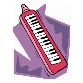 Pink Keytar portable 80s keyboard piano graphic Postcard