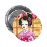 Pink Kimono Button, Maiko Geisha Art