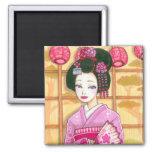 Pink Kimono Magnet, Maiko Geisha Art