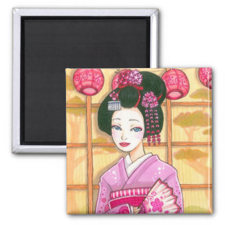 Pink Kimono Magnet, Maiko Geisha Art 2 Inch Square Magnet