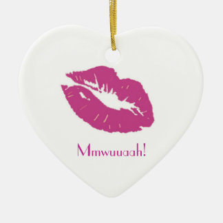 Pink Kiss, Mmwuuaah!-Miss you baby! Ceramic Ornament