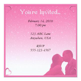 "Pink Kisses Party Invitation 5.25"" Square Invitation Card"