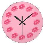 Pink Kisses Wall Clock