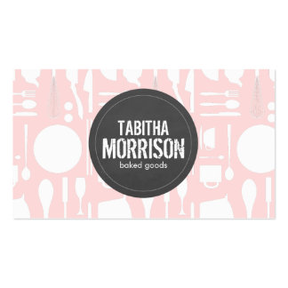 Pink Kitchen Collage with Rustic Gray Logo Bakery Business Cards