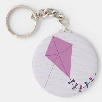 Pink Kite Basic Round Button Keychain