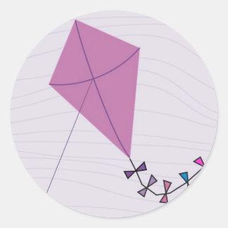 Pink Kite Round Sticker