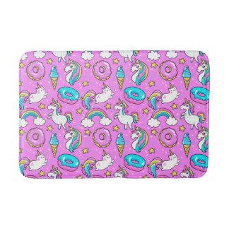 Pink Kitschy glittery funny unicorn and kitty Bathroom Mat