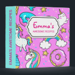 """Pink Kitschy glittery funny unicorn and kitty Binder<br><div class=""""desc"""">Pink Kitschy glittery funny unicorn and kitty cartoon illustration on a bright pink background with rainbows,  ice creams and donuts</div>"""