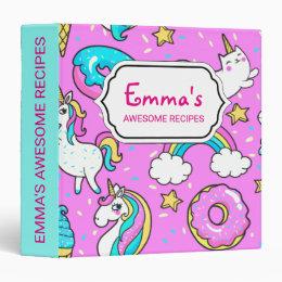 Pink Kitschy glittery funny unicorn and kitty Binder