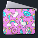 "Pink Kitschy glittery funny unicorn and kitty Computer Sleeve<br><div class=""desc"">Pink Kitschy glittery funny unicorn and kitty cartoon illustration on a bright pink background with rainbows,  ice creams and donuts</div>"