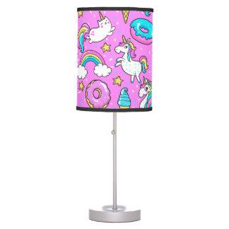 Pink Kitschy glittery funny unicorn and kitty Desk Lamp