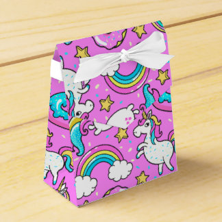 Pink Kitschy glittery funny unicorn and kitty Favor Box