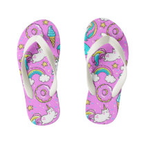 Pink Kitschy glittery funny unicorn and kitty Kid's Flip Flops