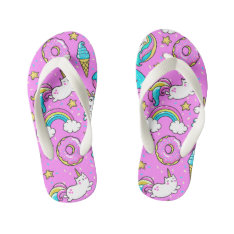 Pink Kitschy Glittery Funny Unicorn And Kitty Kid's Flip Flops at Zazzle