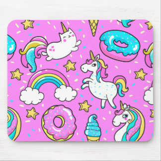 Pink Kitschy glittery funny unicorn and kitty Mouse Pad