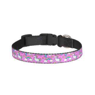 Pink Kitschy glittery funny unicorn and kitty Pet Collar