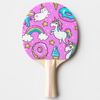 Pink Kitschy glittery funny unicorn and kitty Ping-Pong Paddle