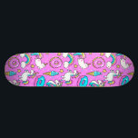 """Pink Kitschy glittery funny unicorn and kitty Skateboard Deck<br><div class=""""desc"""">Pink Kitschy glittery funny unicorn and kitty cartoon illustration on a bright pink background with rainbows,  ice creams and donuts</div>"""