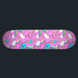 "Pink Kitschy glittery funny unicorn and kitty Skateboard Deck<br><div class=""desc"">Pink Kitschy glittery funny unicorn and kitty cartoon illustration on a bright pink background with rainbows,  ice creams and donuts</div>"
