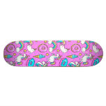 Pink Kitschy glittery funny unicorn and kitty Skateboard Deck<br><div class='desc'>Pink Kitschy glittery funny unicorn and kitty cartoon illustration on a bright pink background with rainbows,  ice creams and donuts</div>