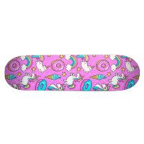 Pink Kitschy glittery funny unicorn and kitty Skateboard Deck