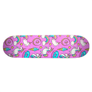 Pink Kitschy Glittery Funny Unicorn And Kitty Skateboard Deck at Zazzle